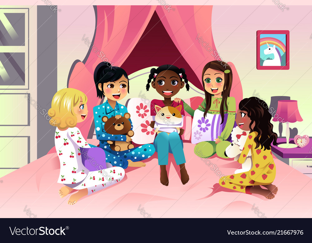girls having a sleepover royalty free vector image