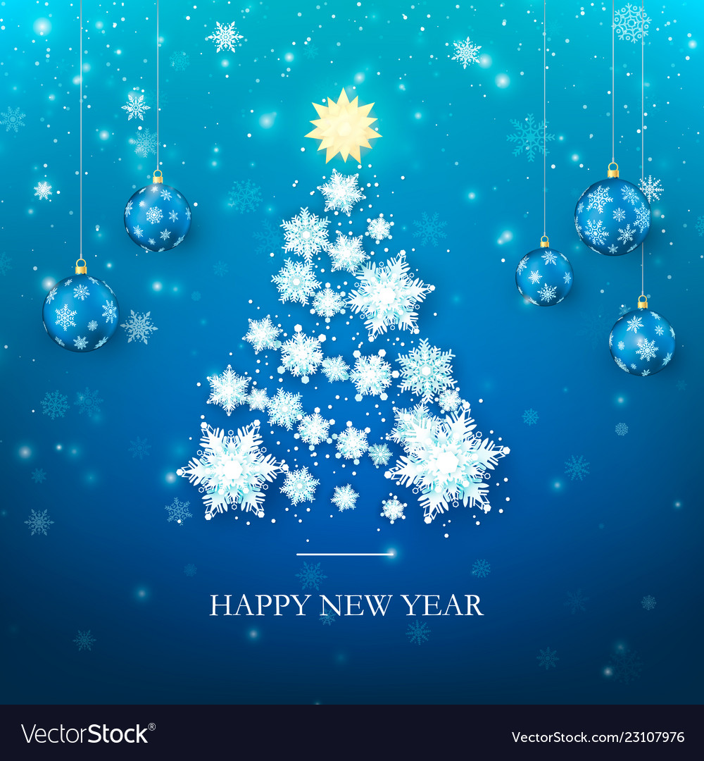 Happy new year greeting card in blue colors