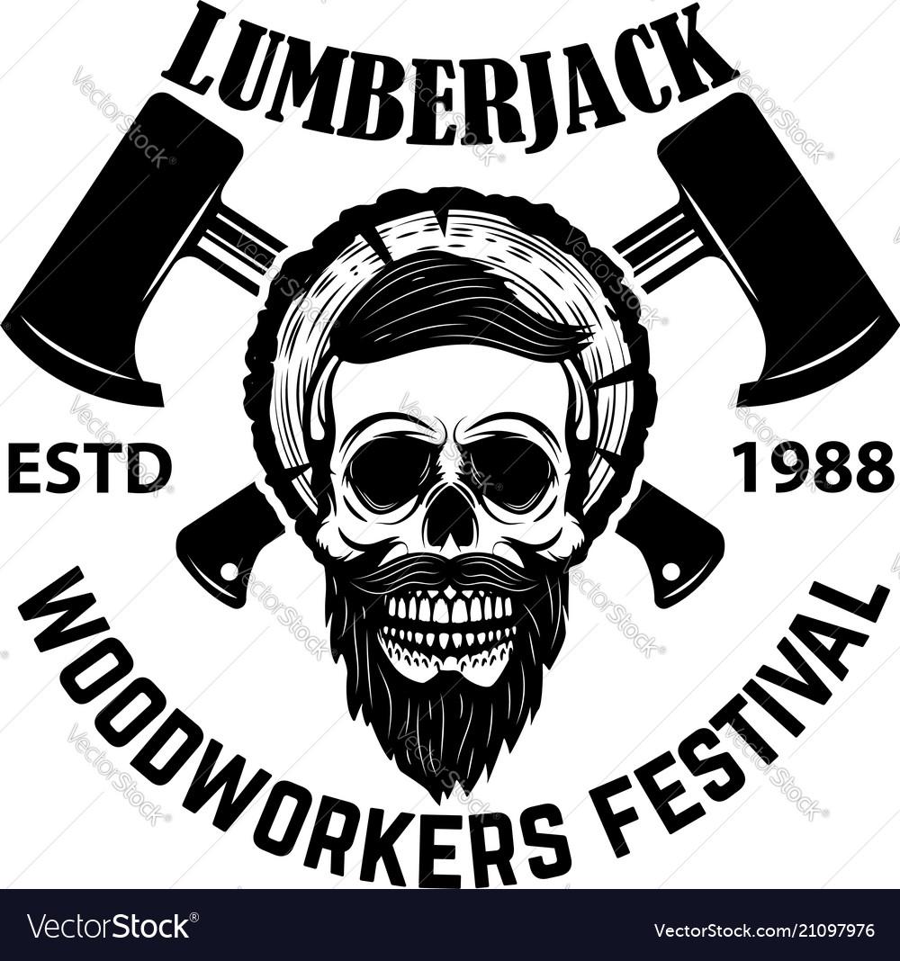 Lumberjack skull with crossed axes design element