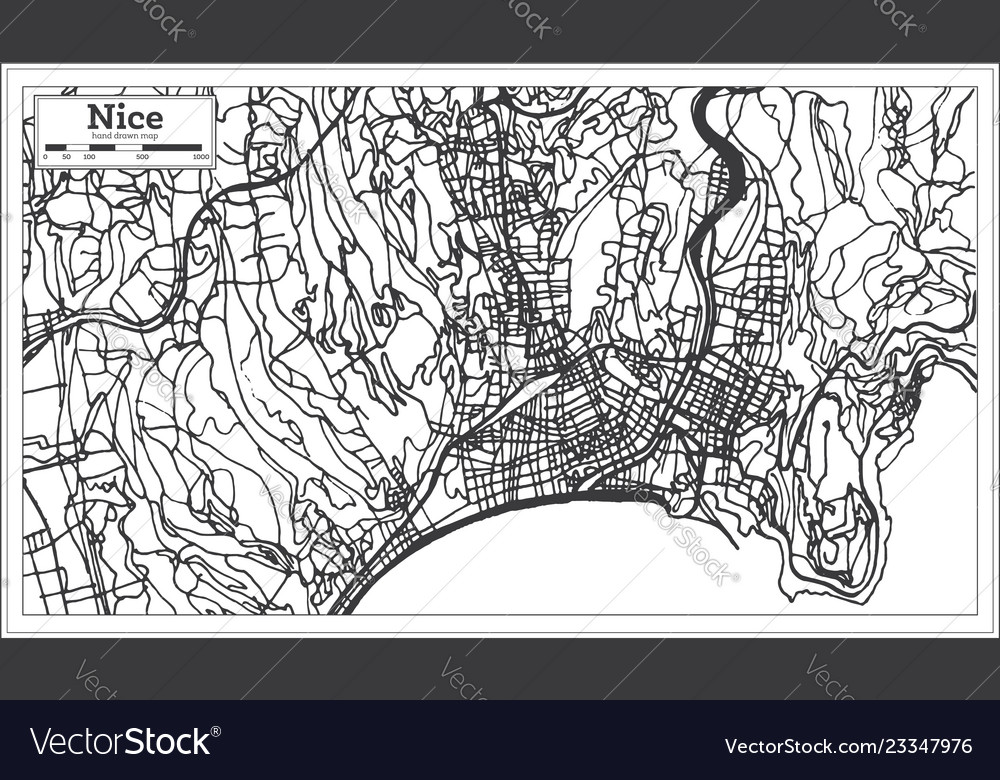Nice France City Map In Retro Style Outline Map Vector Image