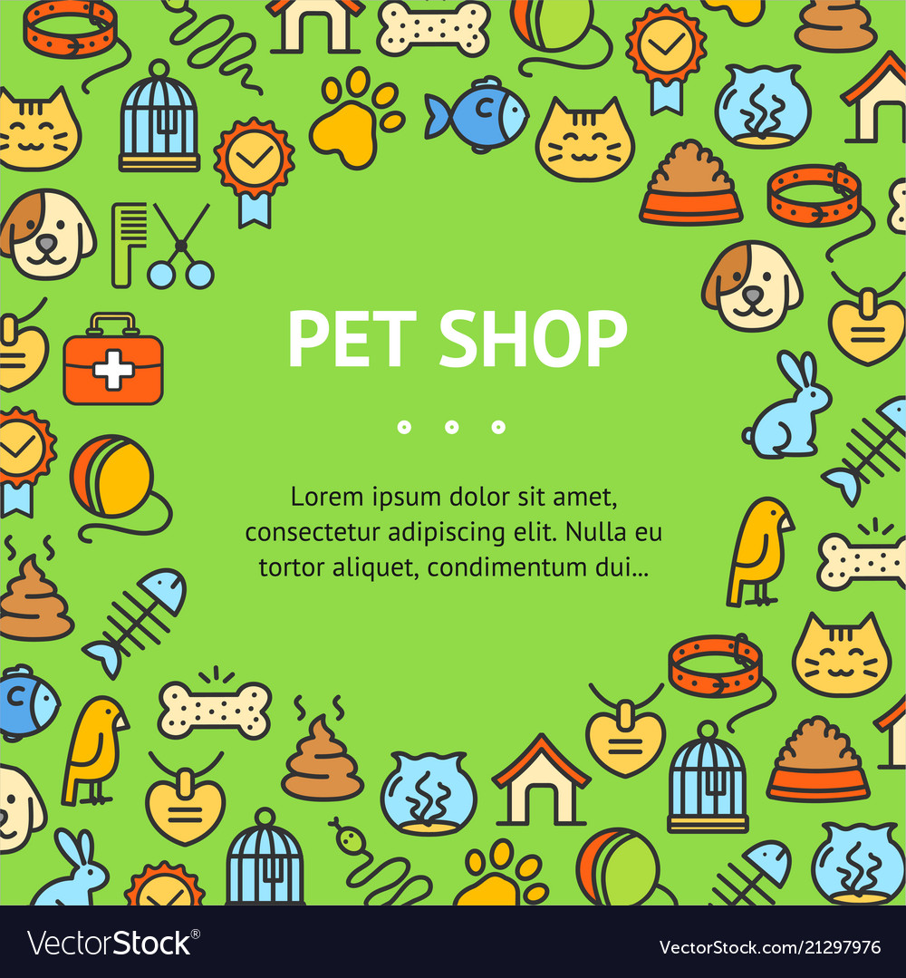 Pet shop signs round design template thin line