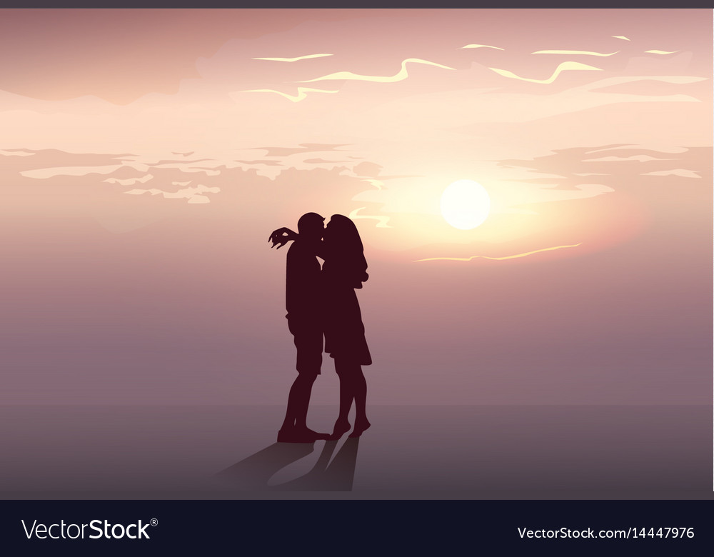 Silhouette romantic couple embrace at sunset