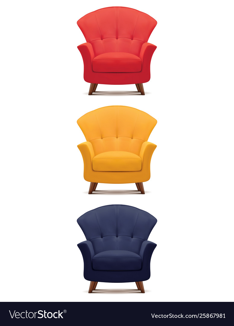 Armchair isolated on white set 3d
