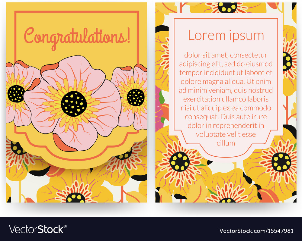 Beautiful invitation with flower pattern vector image