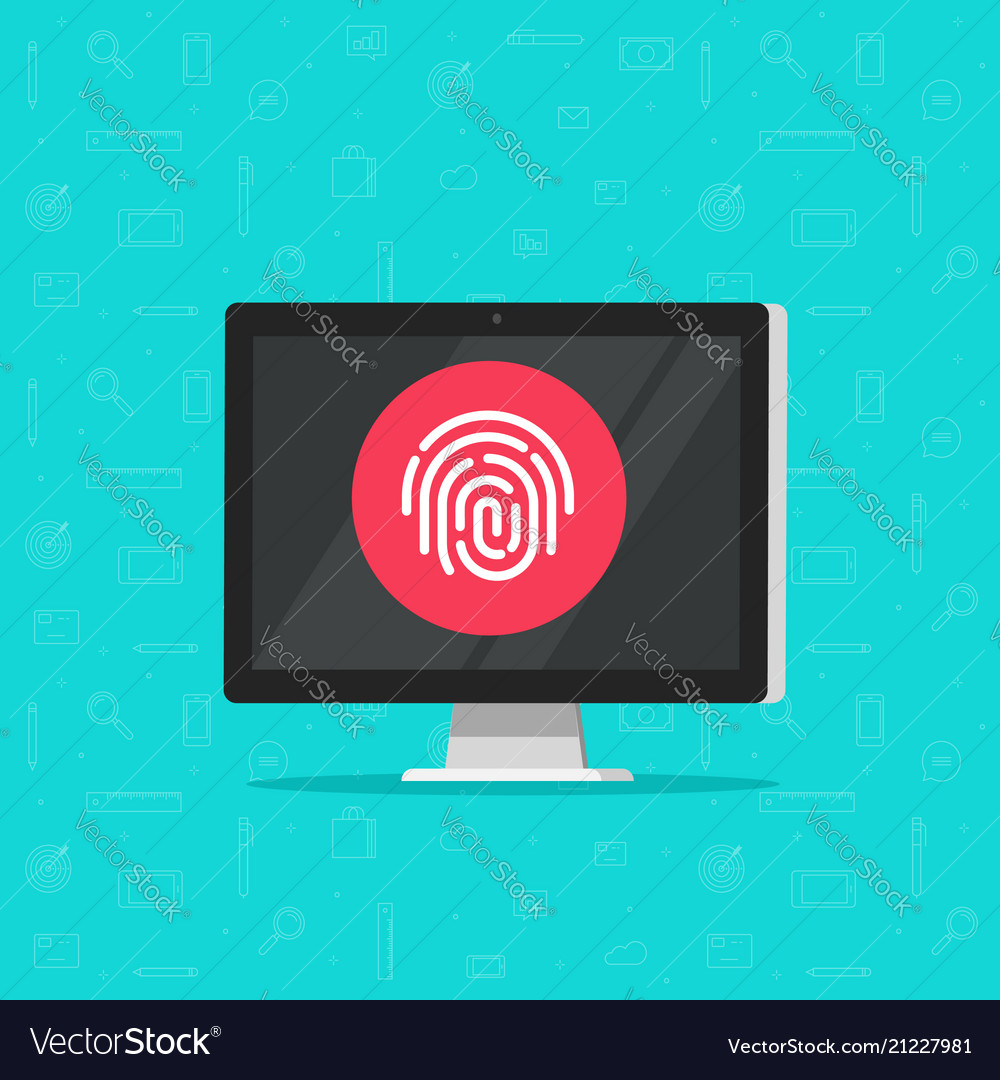 Computer with fingerprint icon flat