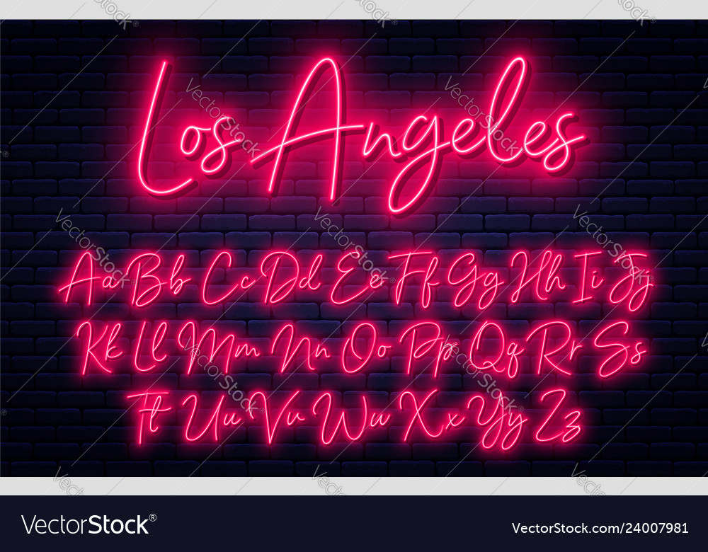 Glowing neon script alphabet neon font with