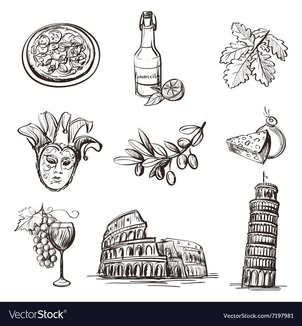 Hand drawn set of Italy
