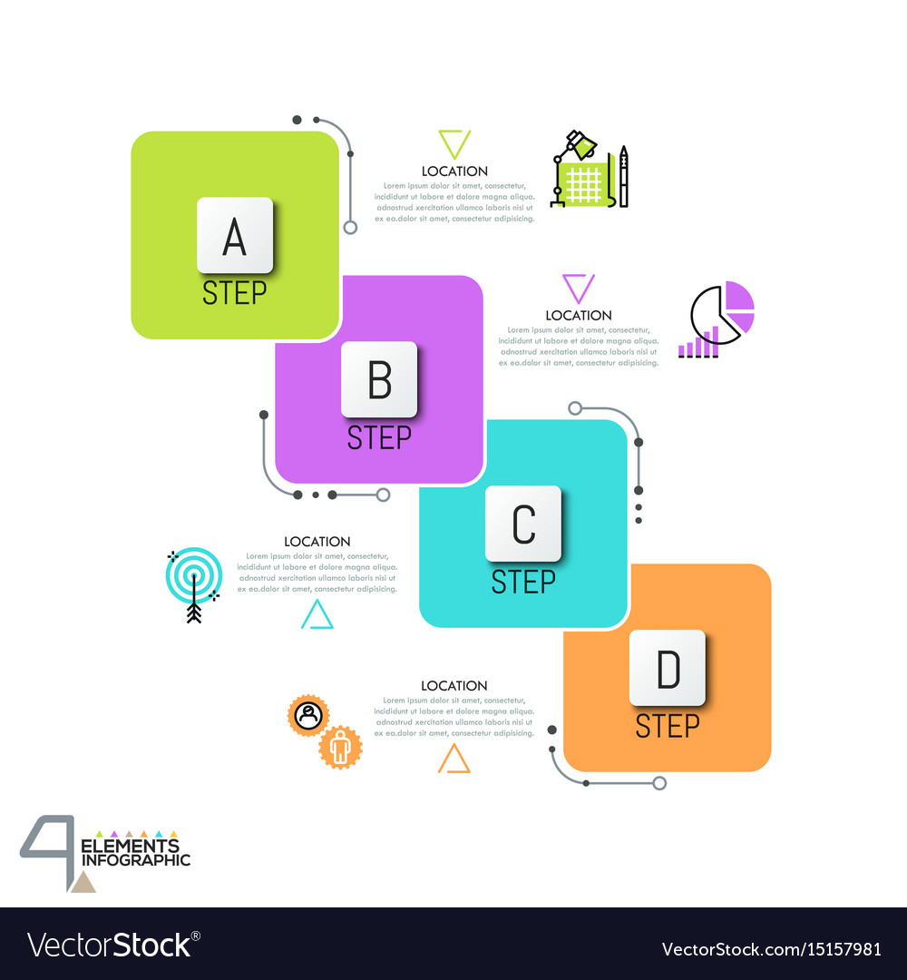 Infographic design template with 4 overlapped