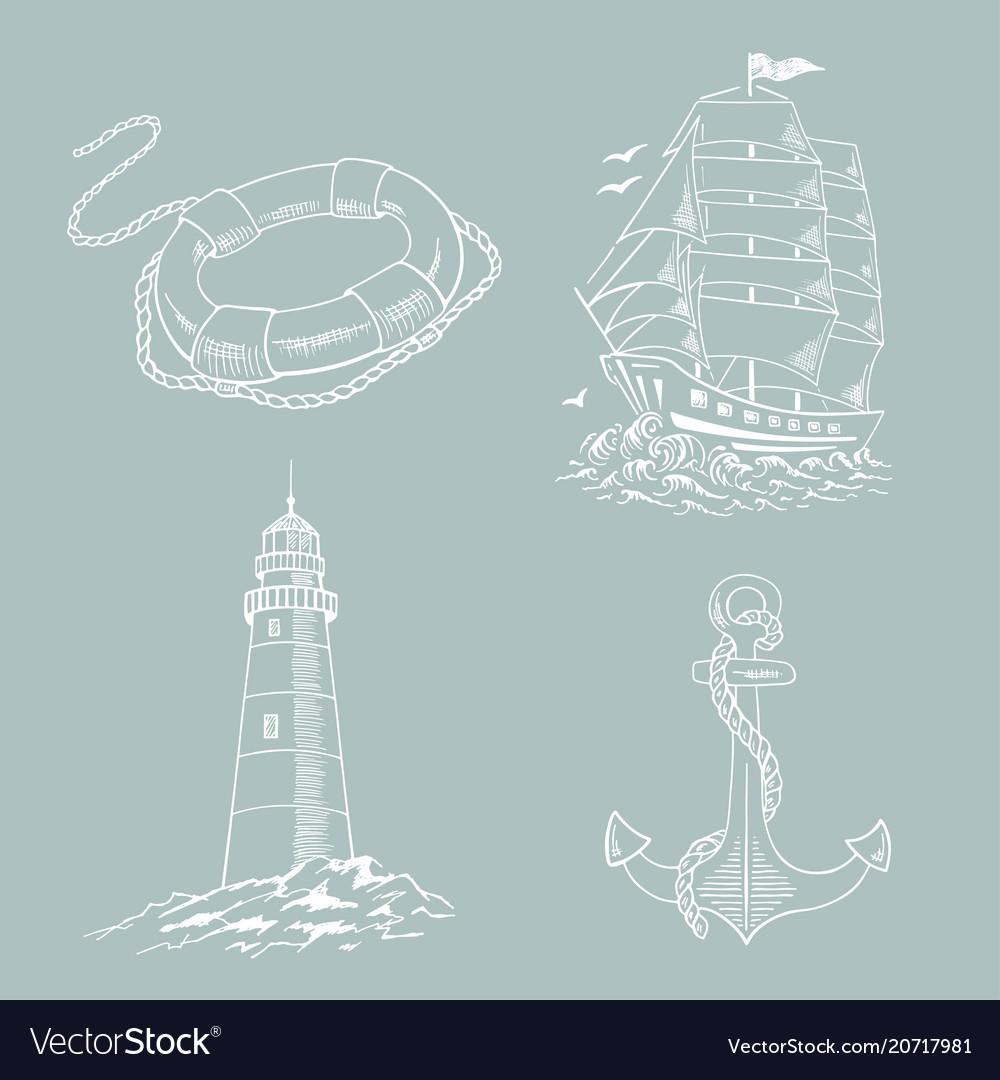 Lighthouse ship sailboat sketch set