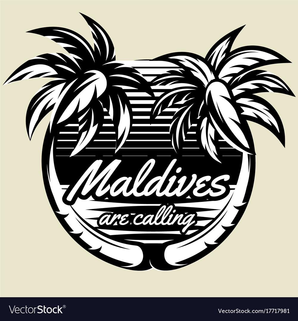 Monochrome template for logo with two palms