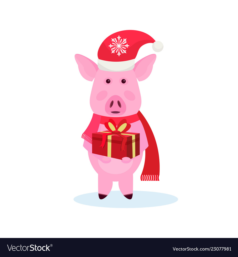 Pig holding gift box wearing hat happy new year