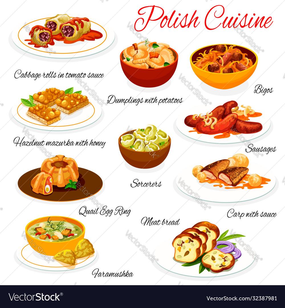 Polish Cuisine Food Dishes Menu Poland Meals Vector Image