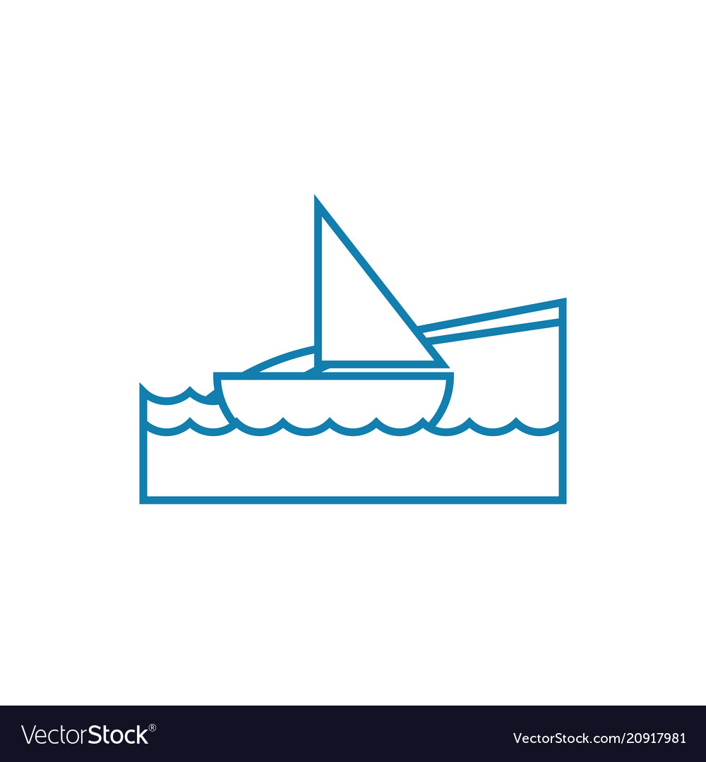 Sailing yacht linear icon concept sailing yacht
