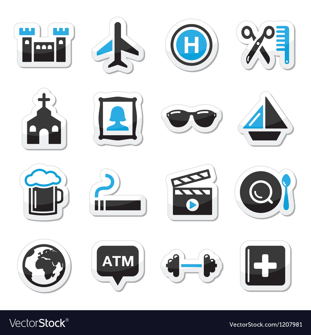 Travel tourism and transport icons set vector image