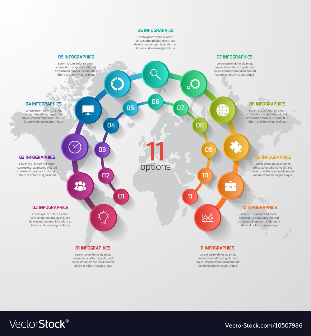 Abstract circle infographic 11 options