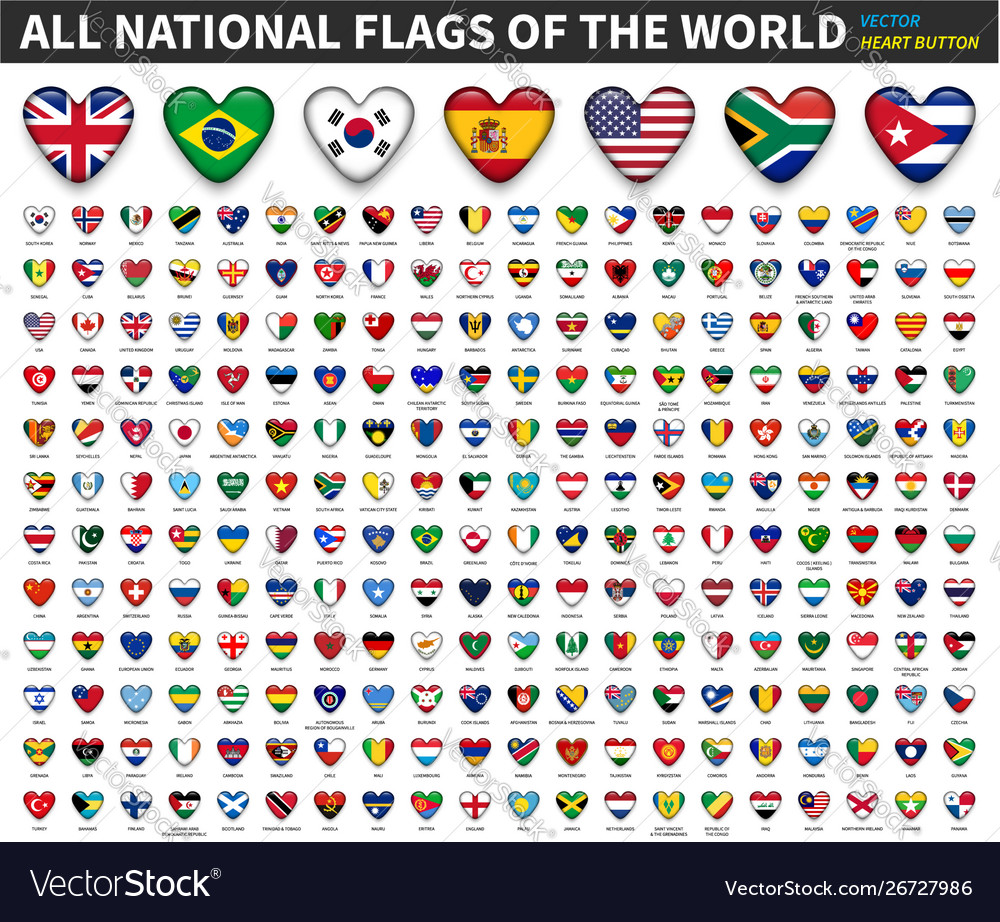 All national flags world heart button