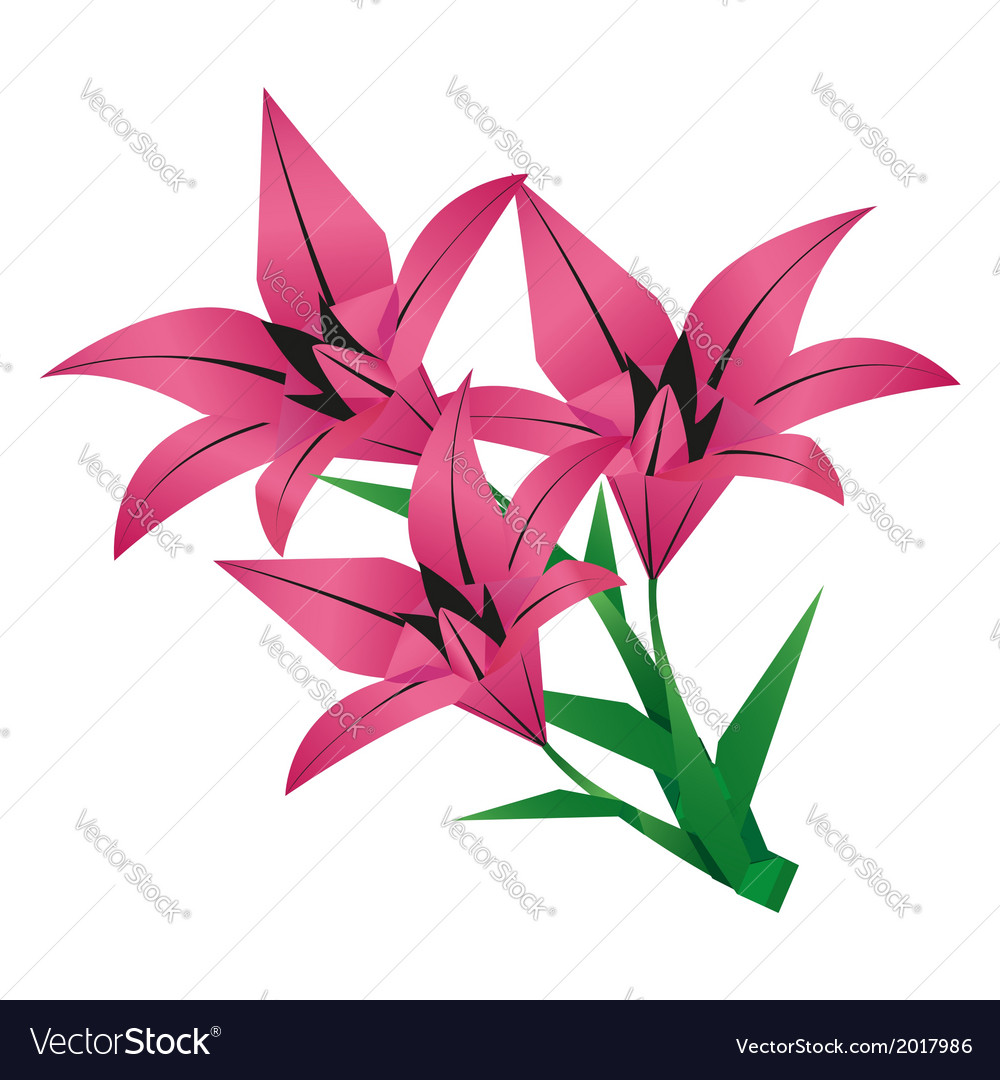 Bouquet Of Origami Flower Lily Royalty Free Vector Image