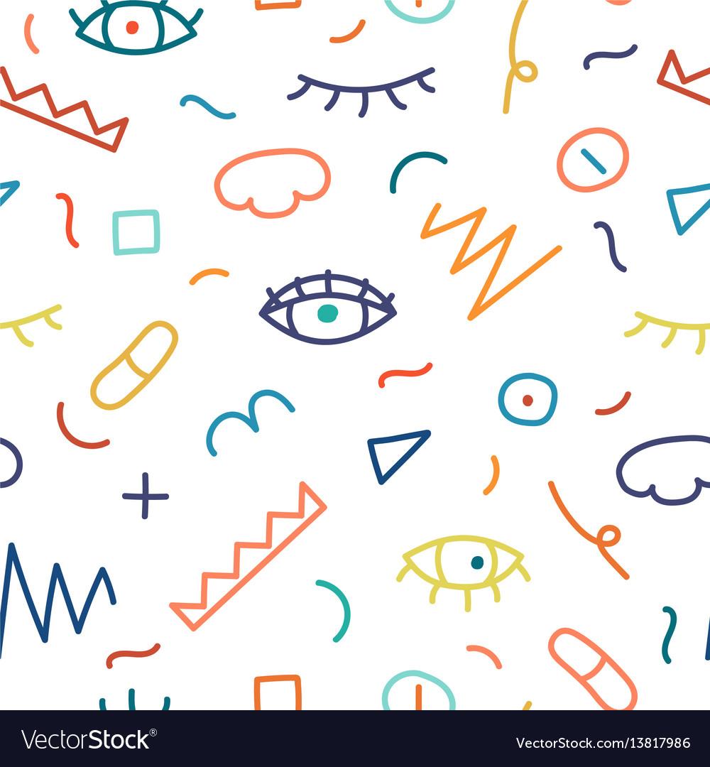 Children hand drawn seamless pattern
