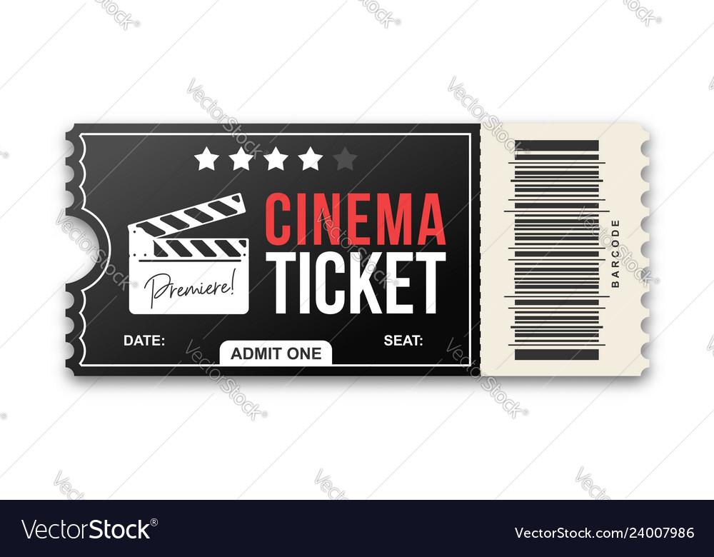 Cinema ticket on white background movie ticket