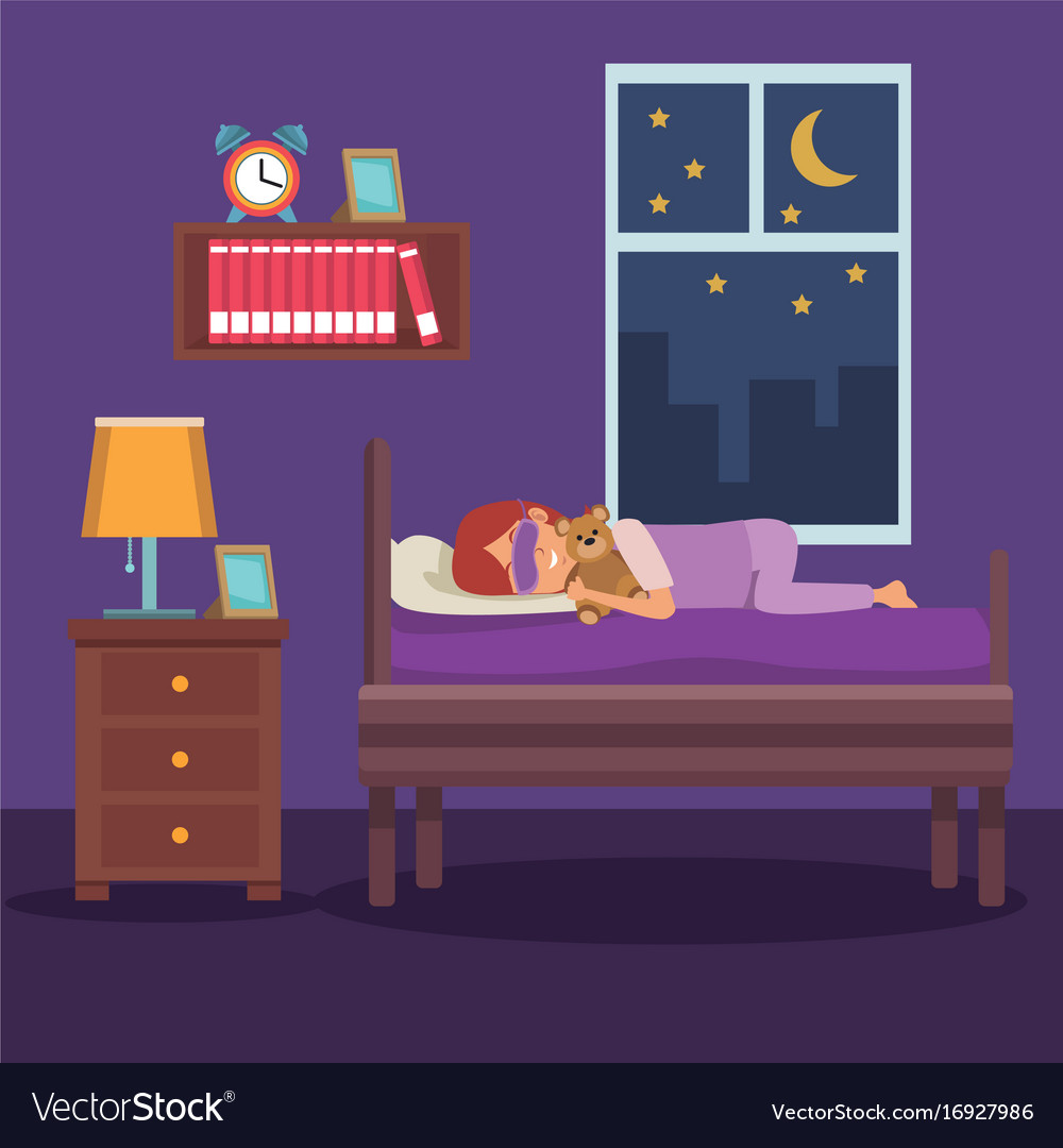 Colorful scene girl sleep with mask and in bedroom