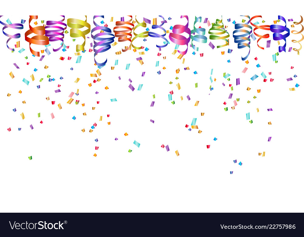 Colorful serpentine confetti holiday background