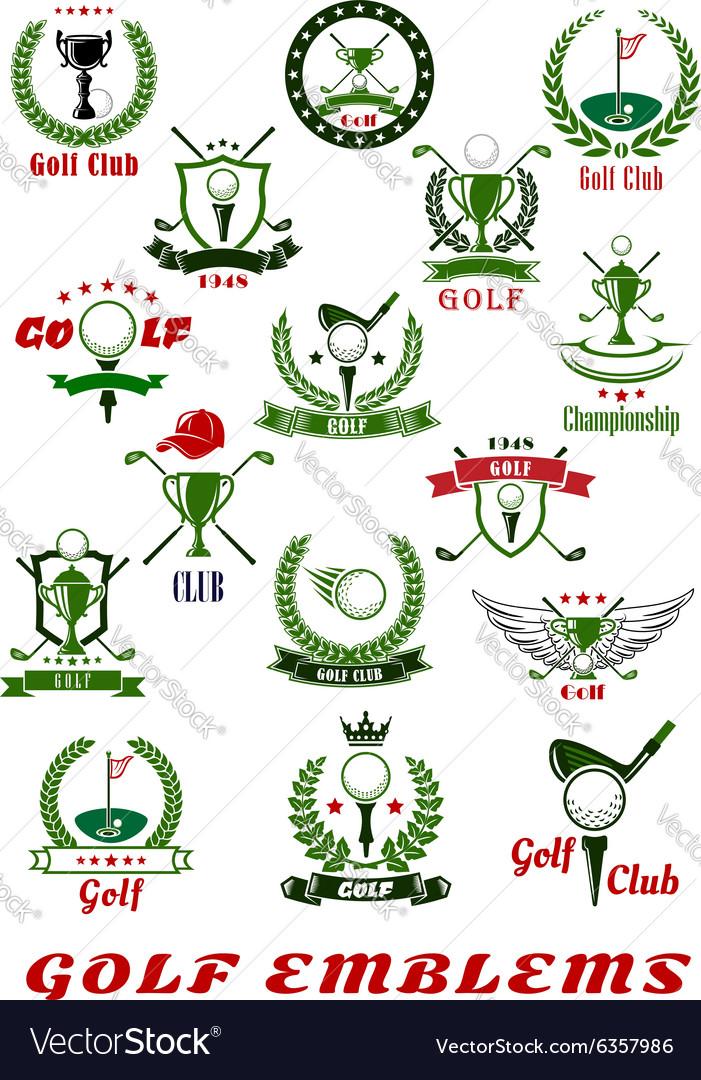 Golf sport icons and symbols set