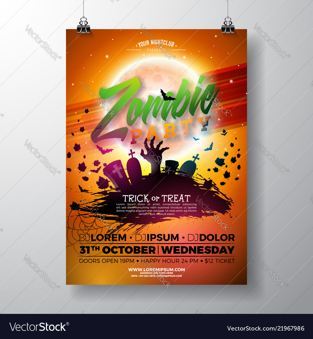Halloween zombie party flyer with