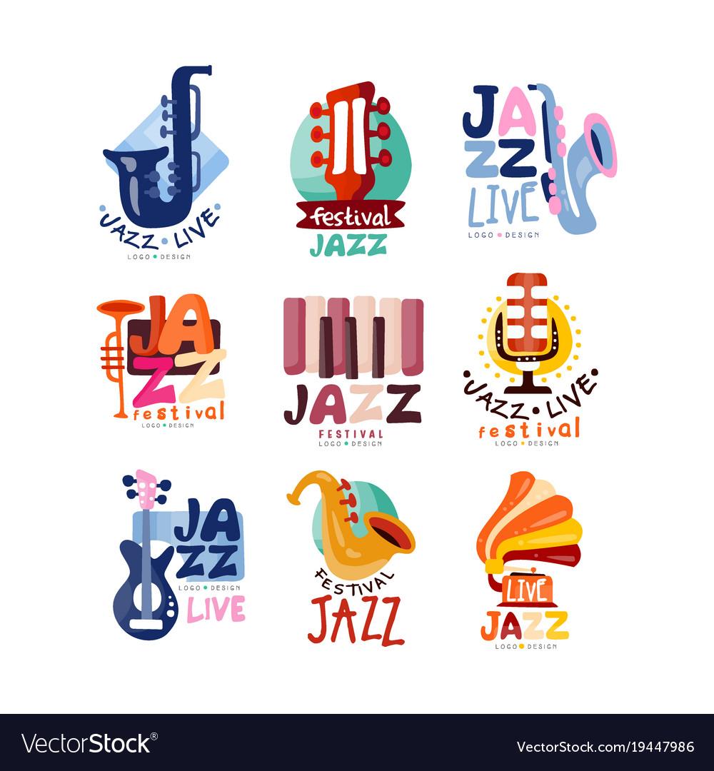 logos set for jazz festival or live concert vector image rh vectorstock com jazz gospel jazz gospel