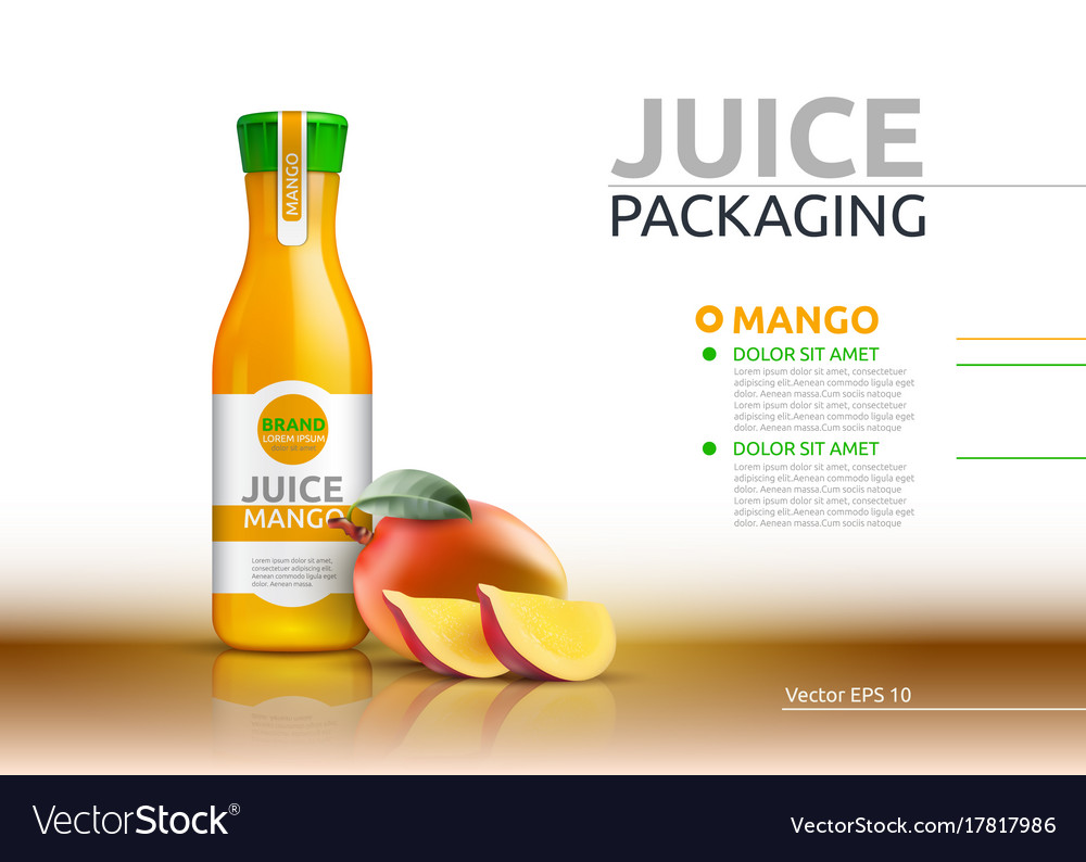 Mango juice packaging realistic mock up