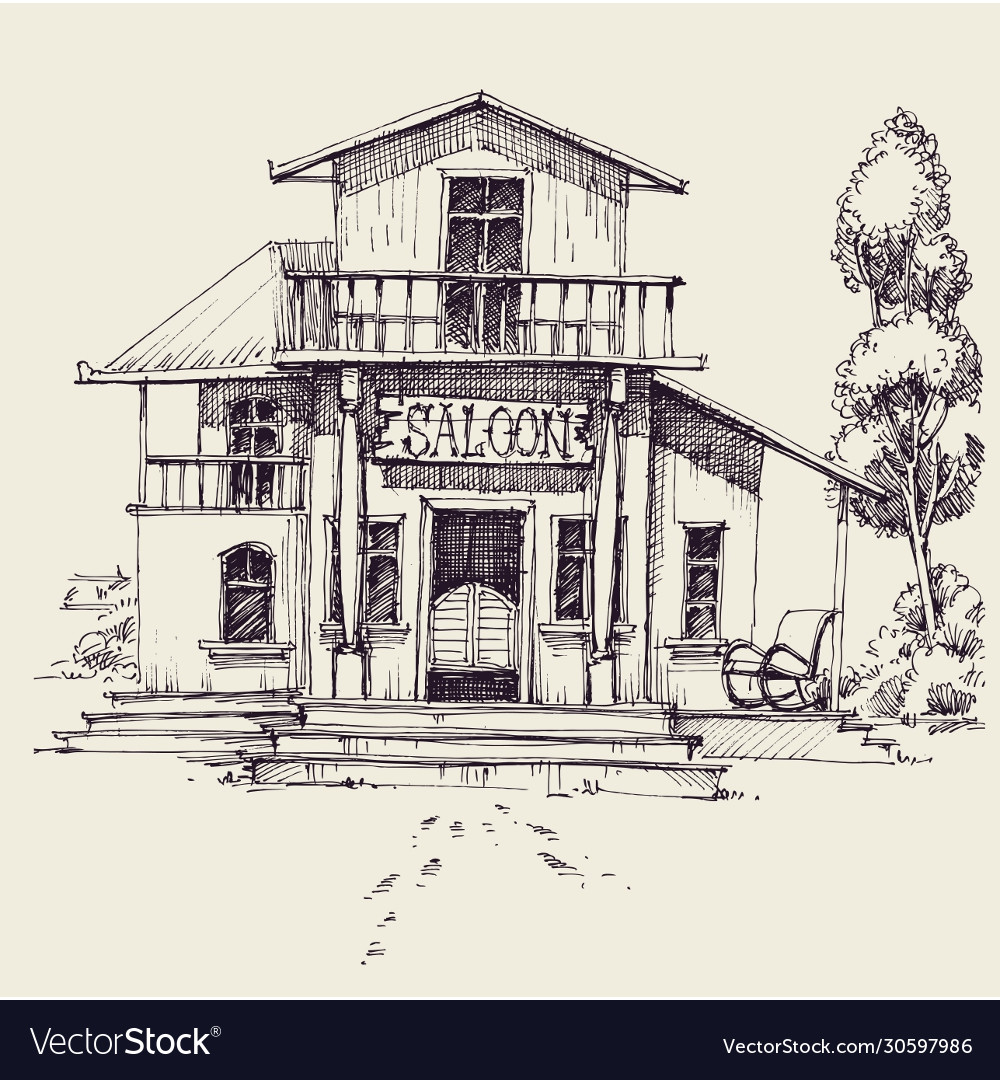 Wild west saloon building hand drawing