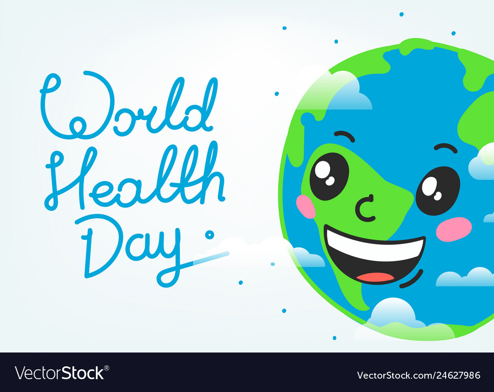 World health day celebration card smiling earth