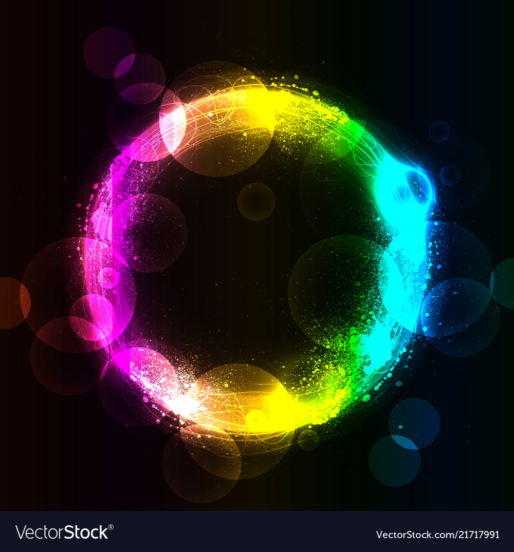 Abstract circle in the spray and rainbow