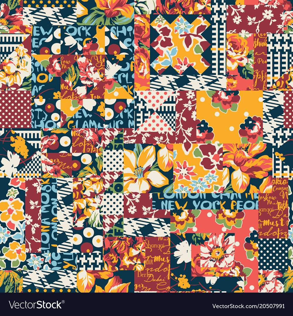 Abstract floral polka plaid patchwork wallpaper