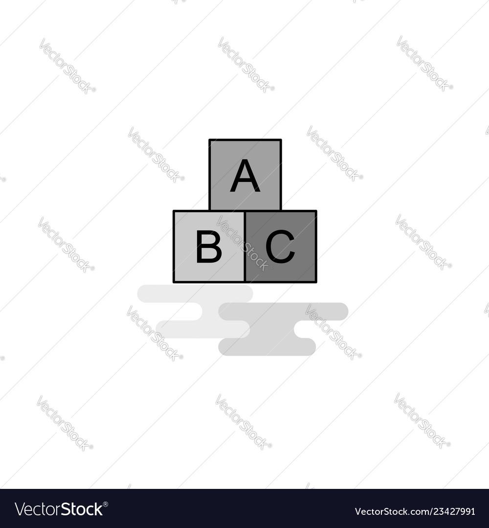Alphabets blocks web icon flat line filled gray