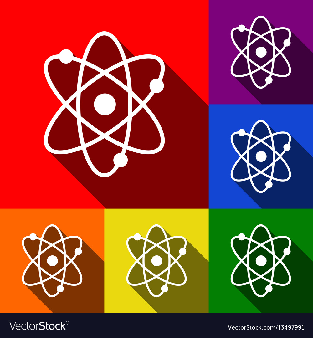 Atom sign set of icons with