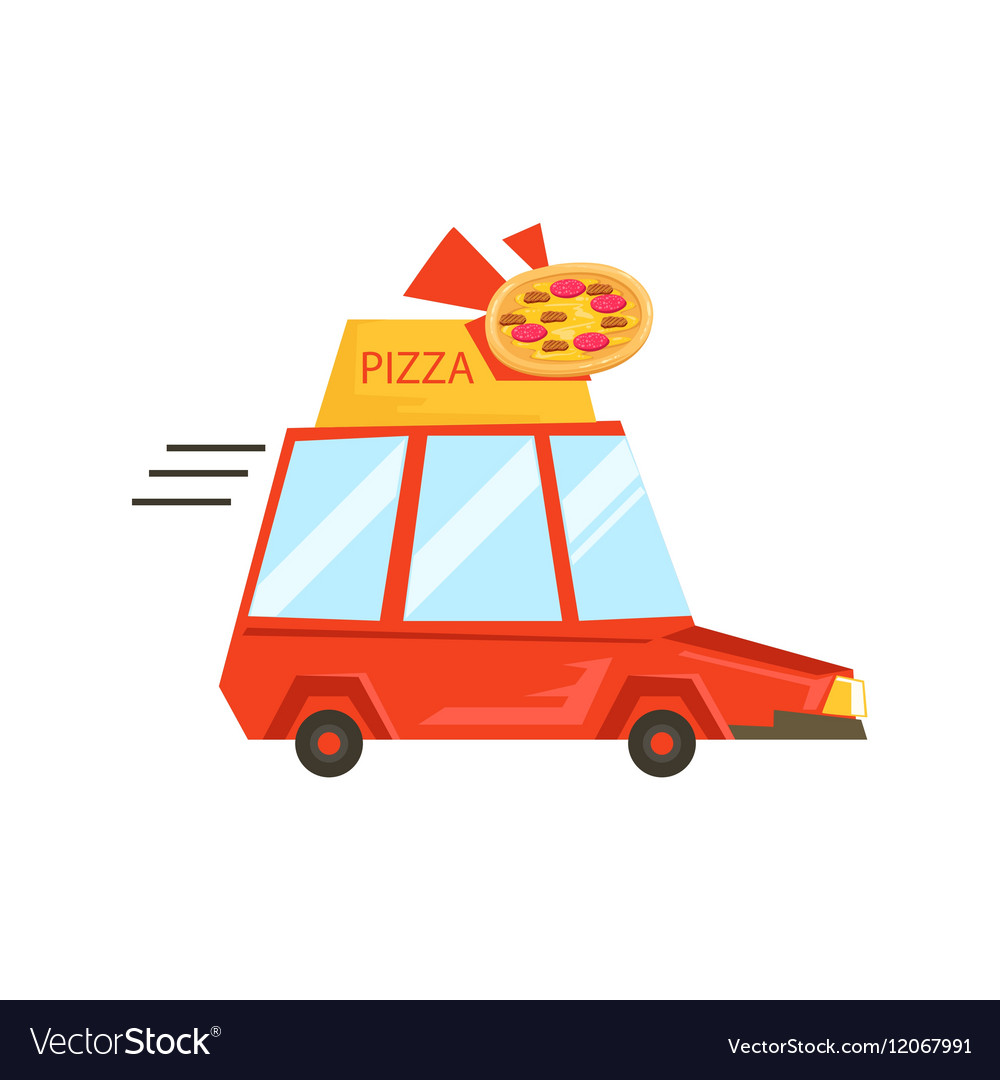 Car With Pizza Sign Delivering FoodPart Of