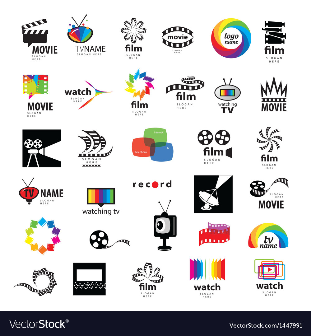 collection of logos tv video photo film royalty free vector