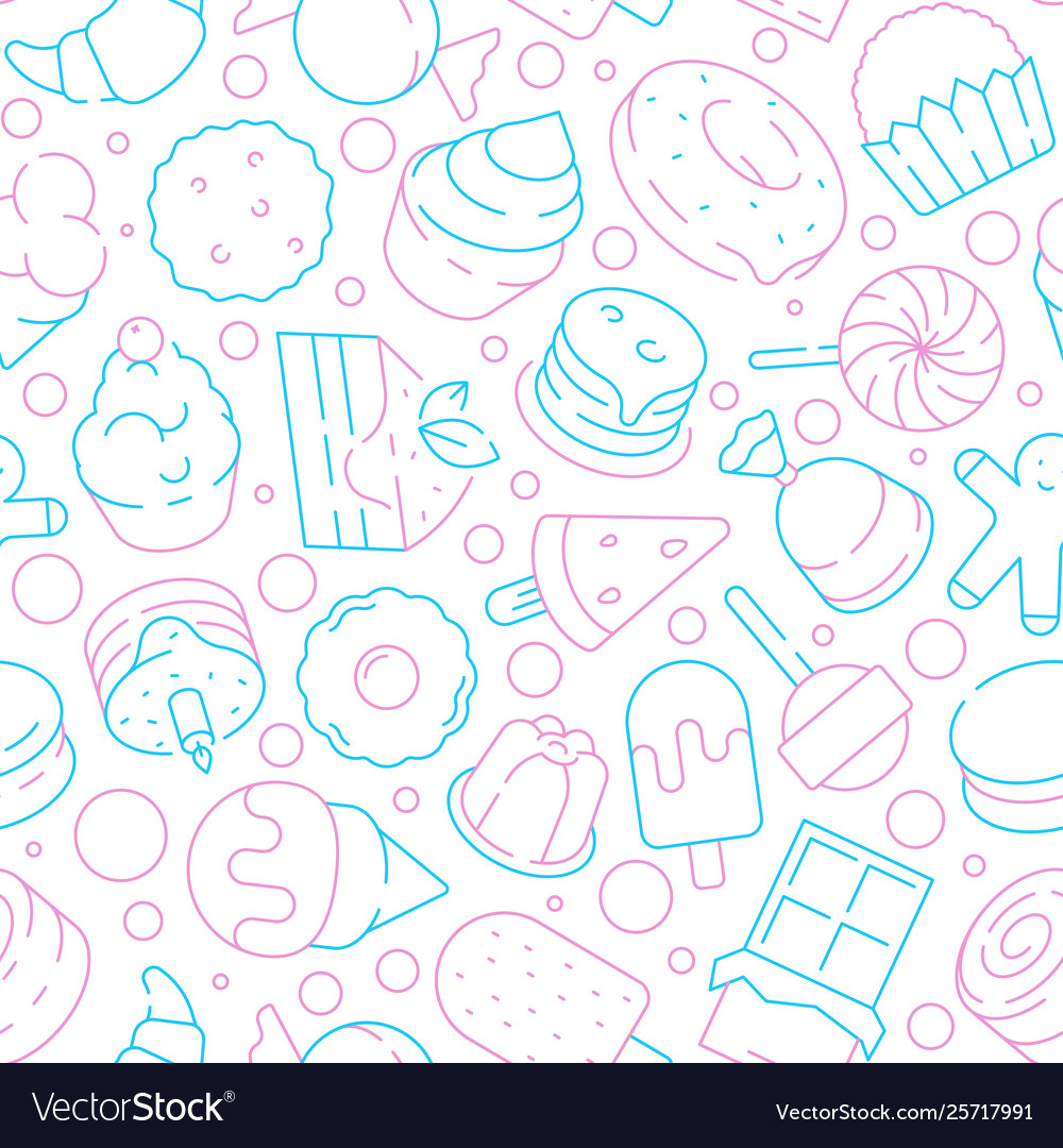 Desserts pattern kids delicious food sweet cakes