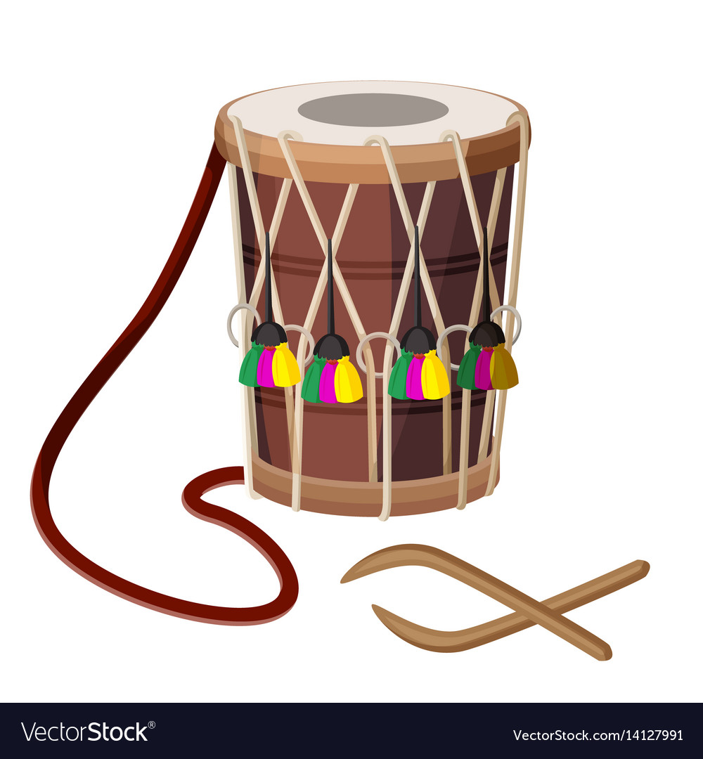 drum percussion instrument double headed dhol and vector image