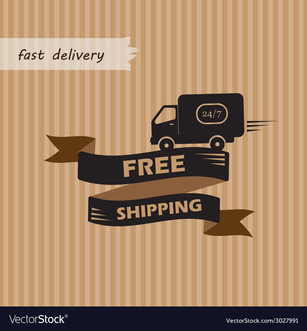 Free Shipping On Craft Background Royalty Free Vector Image