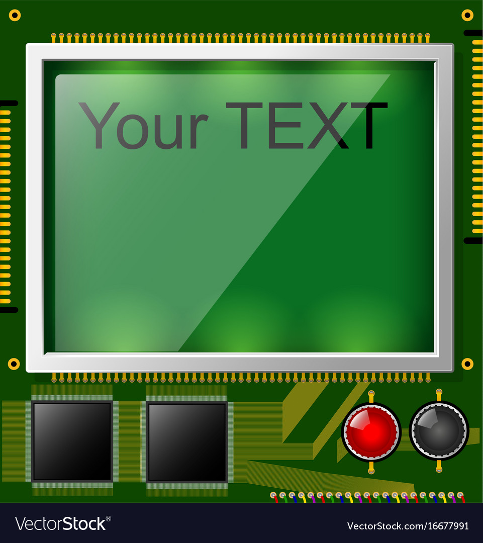 Large lcd display with space for text and vector image