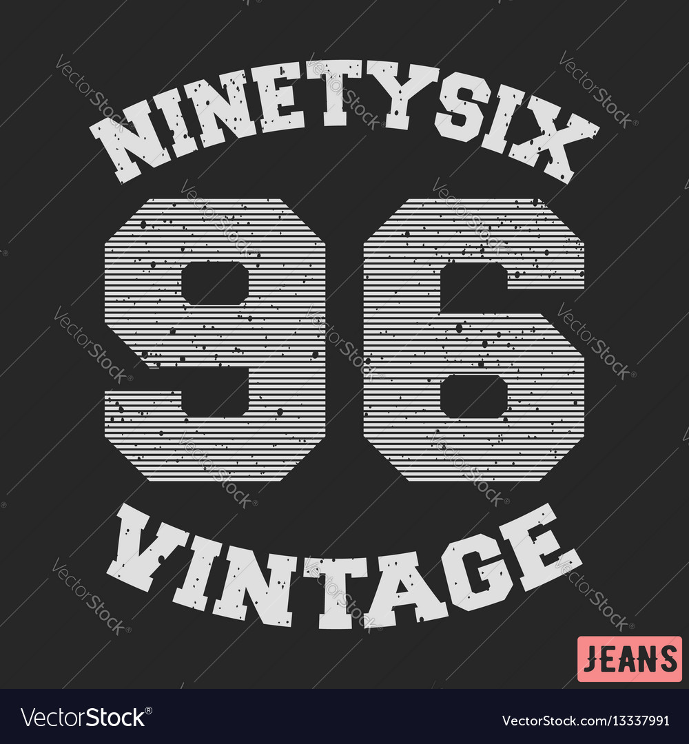 Ninety six vintage stamp vector image