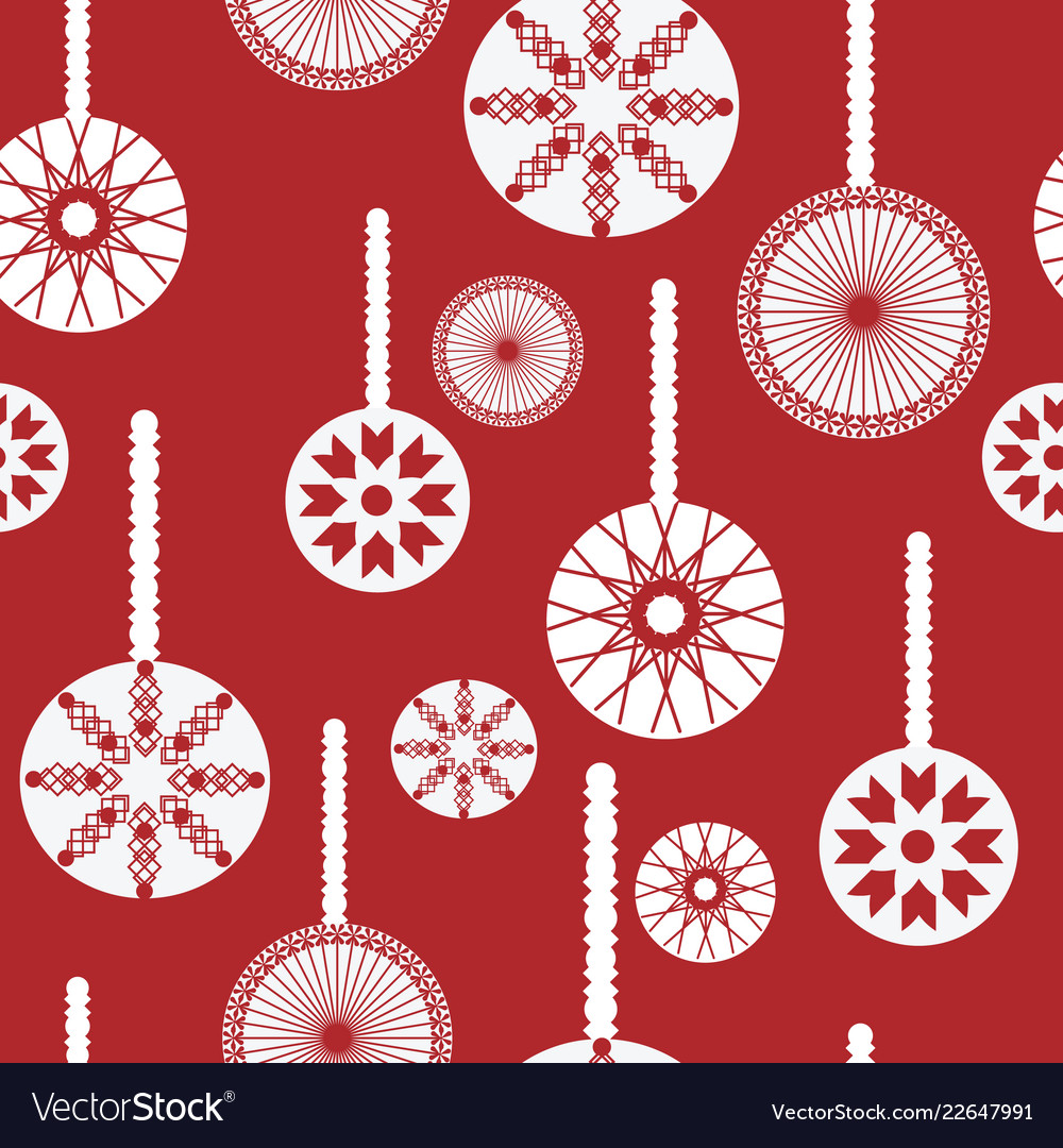 Red And White Christmas Ornaments Seamless Pattern