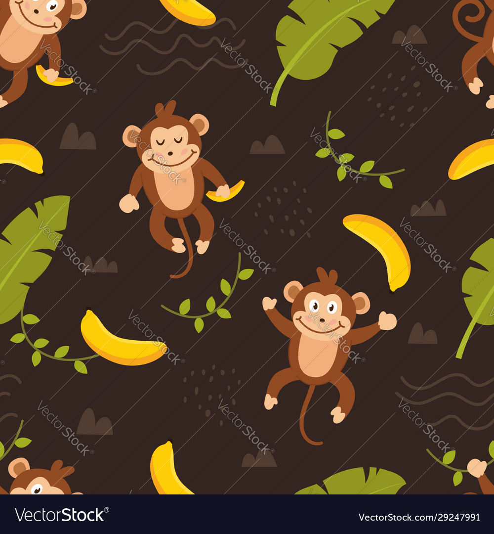 Seamless pattern cute monkey vector