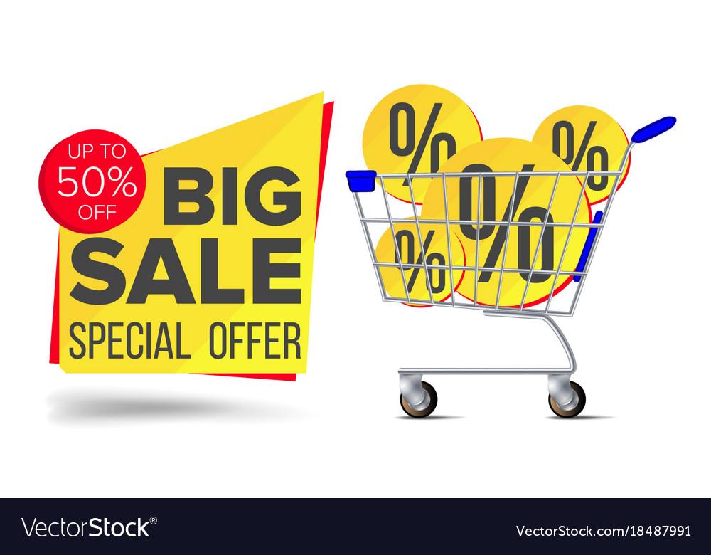 Shopping cart sale flyer advertising