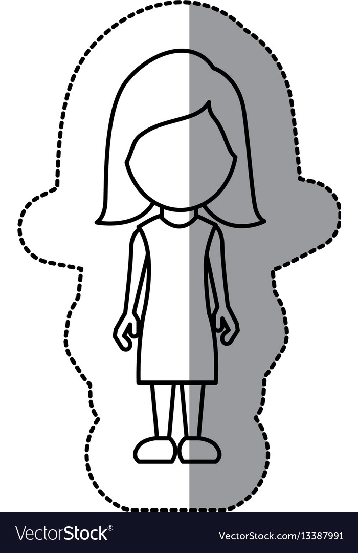 Silhouette woman sticker icon