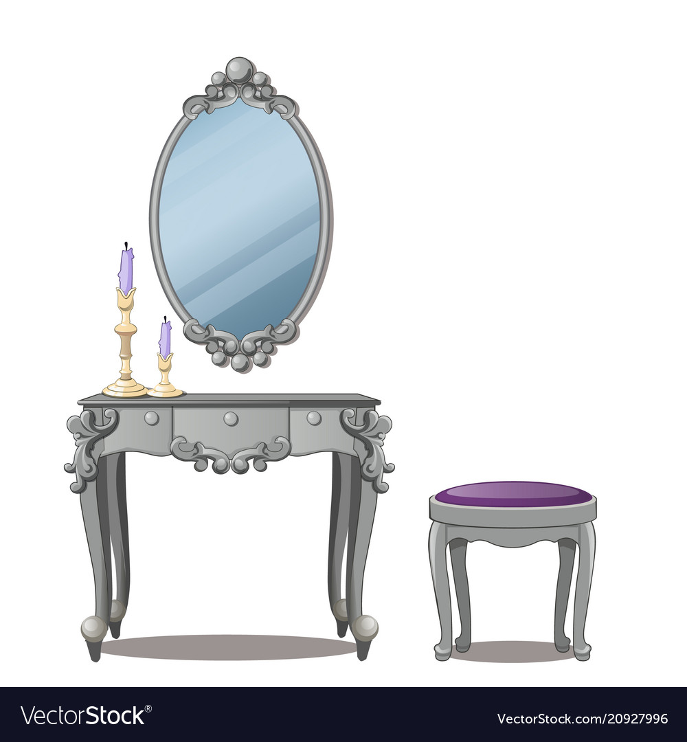 A vintage table for cosmetics and a mirror with vector image