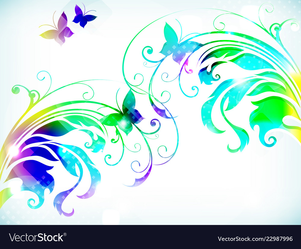 Abstract floral background with paper colorful