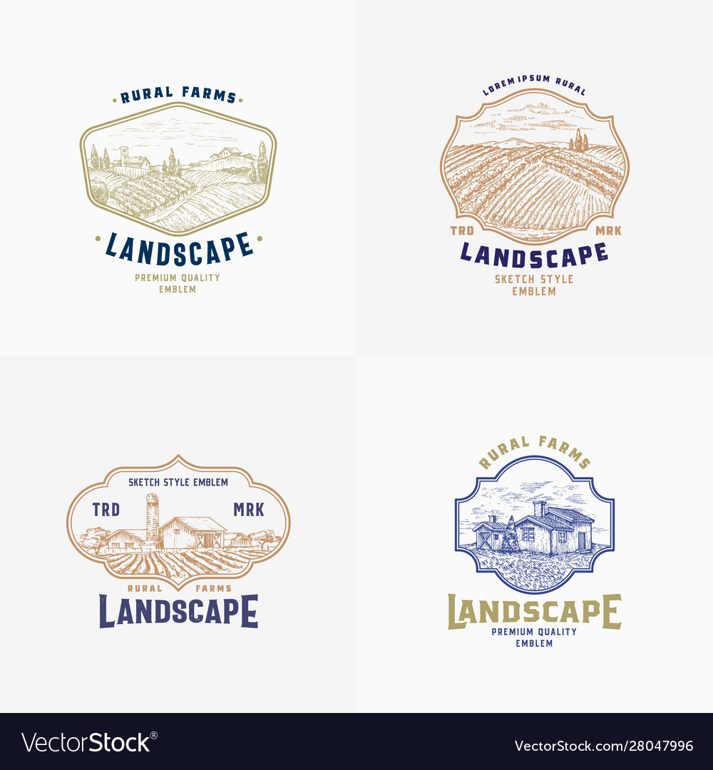 Abstract rural farm signs badges or logo