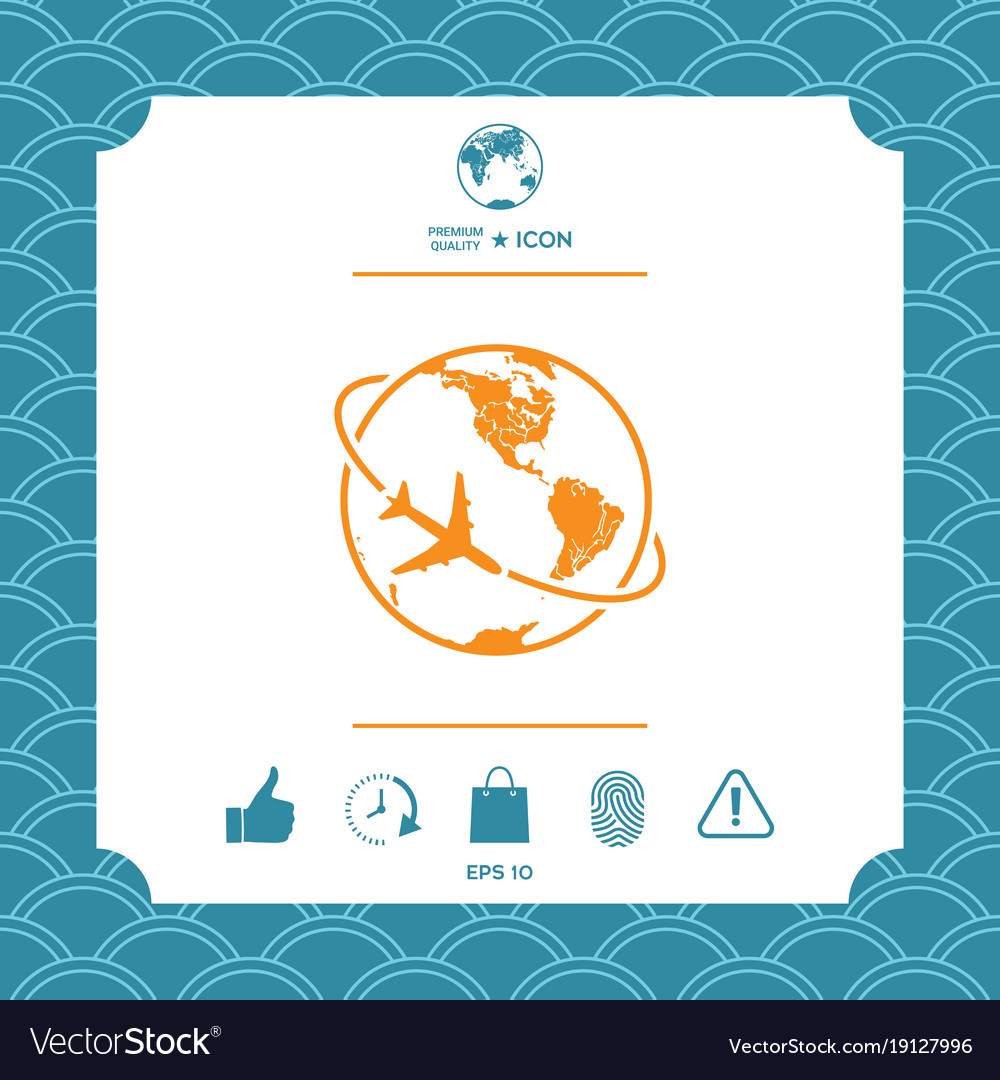 Airplane fly around the planet earth logo icon